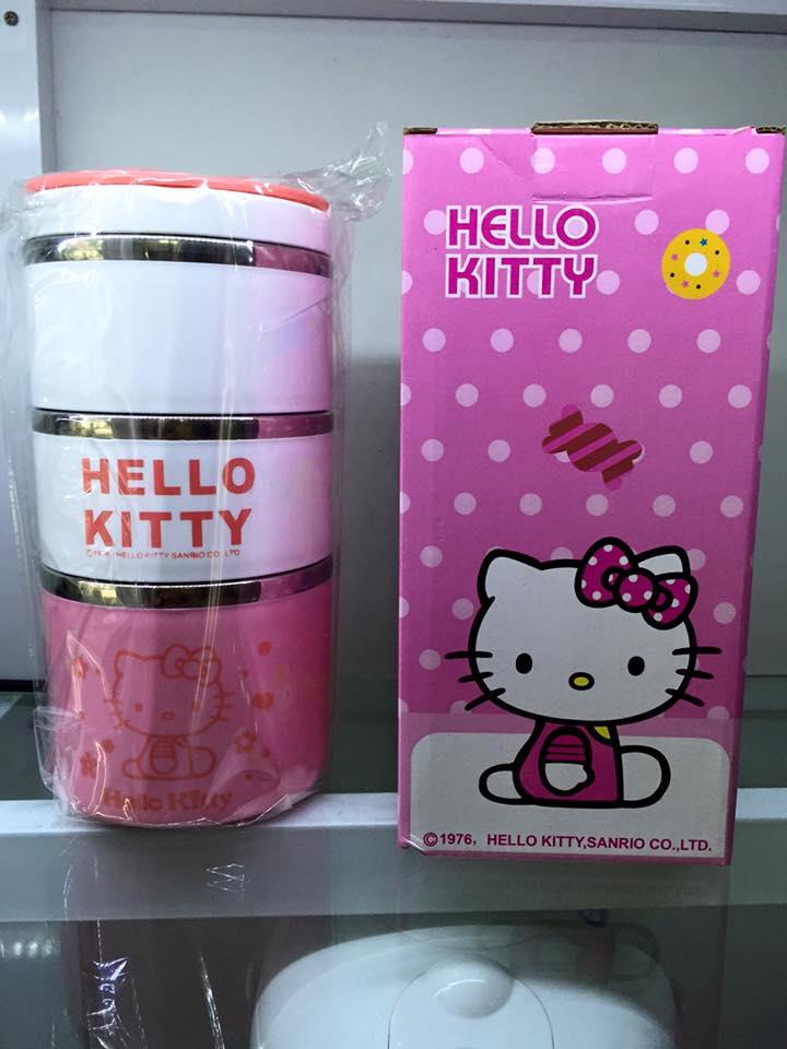 Hộp Cơm Giữ Nhiệt Lõi Inox 3 Tầng Hello Kitty