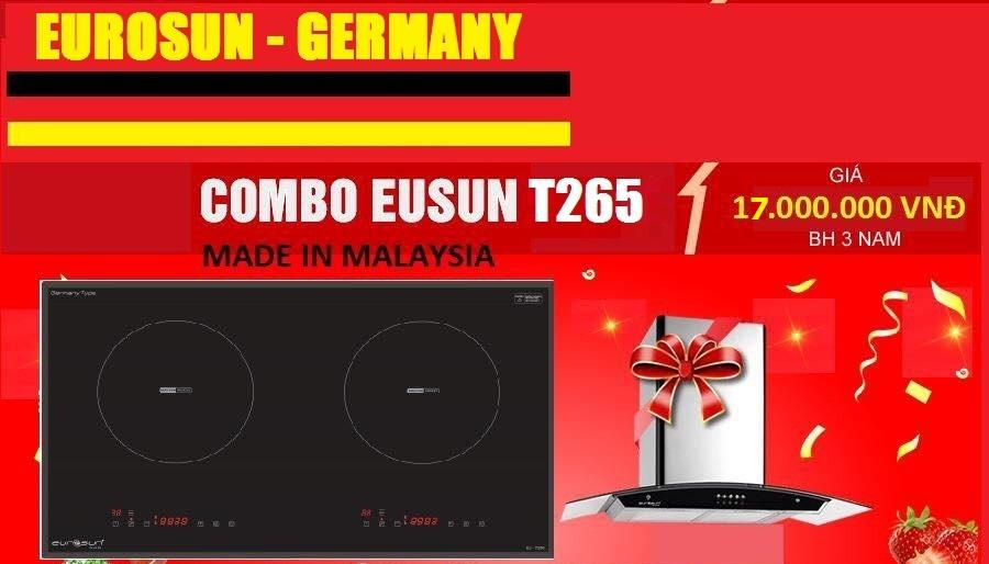 Combo Bếp từ Eurosun Eu-T265 Malaysia + Hút mùi Eurosun 70k10s