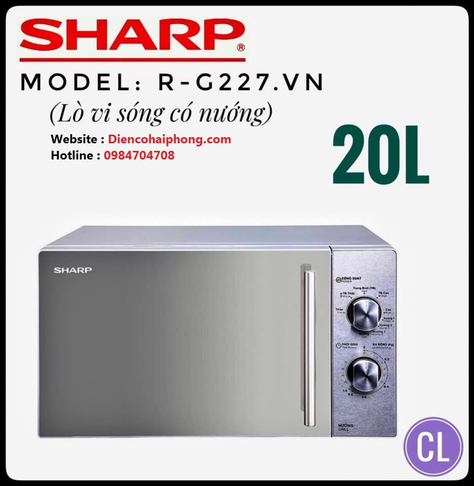 Lò vi sóng có nướng Sharp R-G227VN-M 20L (Bạc)