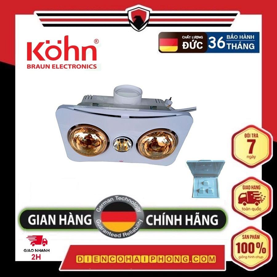 Đèn sưởi nhà tắm 2 bóng âm trần  Kohn Braun BK02G