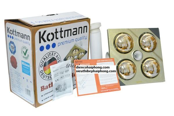Đèn sưởi nhà tắm 4 bóng âm trần Kottmann (Chính hãng)